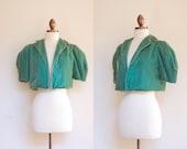 vintage 1930s jade green silk velvet bolero jacket / 30s 40s bright green puffed sleeve cropped jacket / S-M