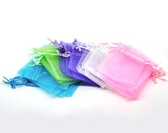 10 or 25 or 50 or 100 Colorful Organza Bags - 9 x 7cm (3.5 x 2.75 in) - Assortment - 5 Colors! Solid Pattern!