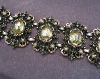 chunky bracelet, rhinestone bracelet, Art Nouveau jewelry, vintage bracelet, vintage jewelry, statement bracelet, statement jewelry, gift