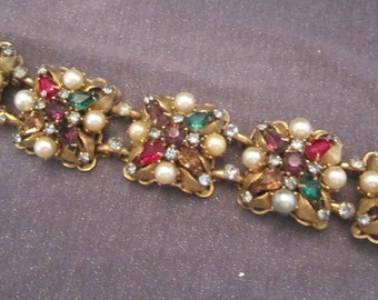 rhinestone bracelet, rhinestone jewelry, vintage bracelet, vintage jewelry, Leru signed jewelry, designer signed bracelet, costume jewelry
