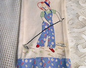 VICTORY GARDEN Tea Towel Blue Feedsack Overalls & Border Embroidered Lady Hoe Red Hat Veggies, 1940 WWII Vintage Handmade Appliqued Cotton