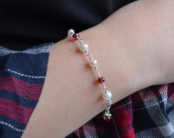 Valentines Day Bracelet, Sterling Silver, Real Garnet Gemstones, Freshwater Pearls, Gift for Girls, Heart Charm, January Birthstone Jewelry
