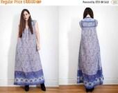 On Sale Vintage Indian Floral Peacock Gauze Cotton Boho Dress Hippie Dress 70's