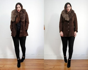 Vintage Afghan Sheepskin Shearling Aviator Penny Lane Coat Grunge Revival Coat