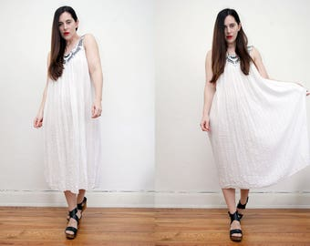 Vintage White Indian Gauze Cotton Grecian Cheese Cloth Boho Tunic Smock Navajo Hippie Maxi Dress