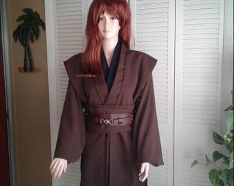 Star Wars Jedi Knight Size Small Brown with Black Neckpiece  5 Piece Handmade Costume