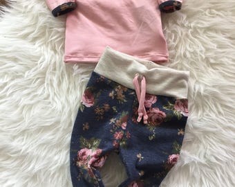 Floral drawstring pants and shirt available in sizes preemie to 24 months