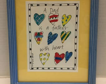Vintage Father's Day Art Piece Signed by the Artist Sally Huss 1989