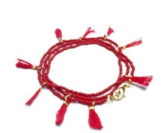 tasselnecklace, redtasselbracelet, wrapbracelets, giftsforher,rokcandybracelet, malabracelet, yogajewelry, rokcandyjewelry, beadedbracelets,