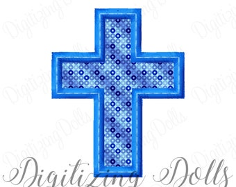 Cross Applique #4 Machine Embroidery Design Digital File 3x3 4x4 5x5 5x7 6x10 Church Easter INSTANT DOWNLOAD