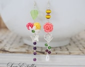 RESERVED For Daniele* Asymmetrical Earrings, Coral Pink and Yellow Earrings, Floral Mismatch Earrings, Summer accessories - Blooming Garden