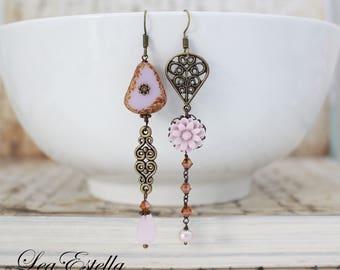 Pink Mismatched earrings pink floral earrings Pink flower earrings Pink Asymmetrical Earrings Garden earrings Rustic earrings - Candy Floss