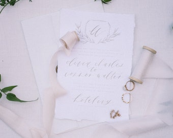 Calligraphy Wedding Invitation & Packages | Custom Wedding Calligraphy | Romantic Organic Handmade Paper Suite | Geraldine Style