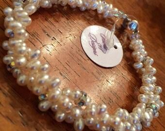 Teardrop Pearl Bracelet - Multi Strand Pearl Bracelet - Pearl and Swarovski Crystal Bracelet - Pearl 3 Strand Bracelet - Pearl and Crystal