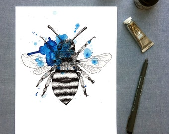 Squashed Bumblebee watercolour print