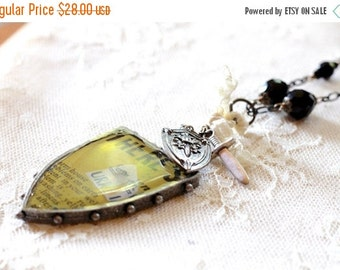 30% OFF CHRISTMAS SALE Large mixed media yellow shield pendant necklace, sword charm, lace, black beads, long necklace, statement necklace,