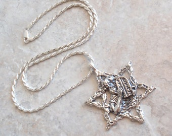 Star Of David Necklace Sterling Moses Ten Commandments 20 Inch Rope Chain Vintage V0385