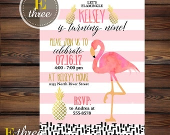 Flamingo Birthday Party Invitations - Pineapple Girl's Summer Party - Pink, Gold, Black Invites - Let's Flamingle