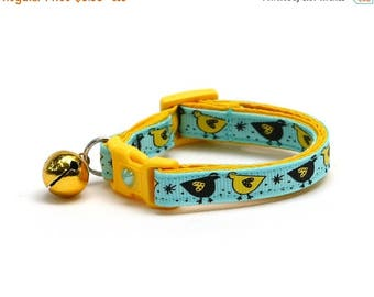 ON SALE Bird Cat Collar - Yellow Bird on Blue - Small Cat / Kitten Size or Large Size
