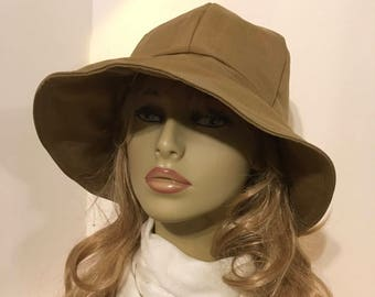 Ladies Sun Hat, Garden Hat, Beach Hat, Hiking Hat in solid camel canvas