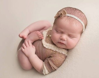 Newborn girl lace romper (Abigail) - photography prop - cream, tan, onesie, lace outfit, outfit