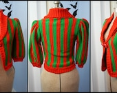 Super Adorable Vintage 1970s Womens Red and Green Striped Cardigan Sweater Christmas Elf Chic for the Holiday Size M