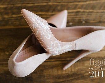 BE MINE Hand-Painted Blush Pink Suede & Patent Leather Pumps by Figgie