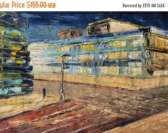 70%OFF Oil Painting Original canvas texture painting Impasto Colorful Blue shades street art paintings ready to hang gift modern large March