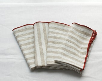 striped napkins tan and white edged in red orange 100% linen  set of four