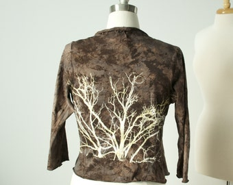 large hand dyed and printed tree wrap top jacket in espresso marsala cotton knit