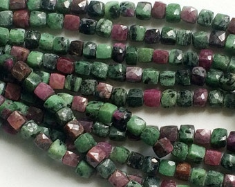 Ruby Zoisite Faceted Cube Beads, 6.5-7mm Ruby Zoisite Box Beads, Ruby Zoisite Necklace, 8 Inch, 30 Pcs - AGA125