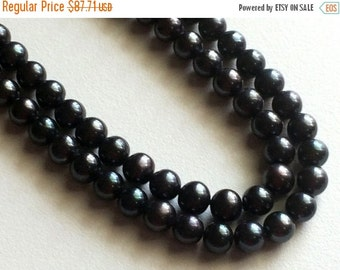 60% HOLIDAY SALE Pearls - Black Color Pearls, Natural Fresh Water Round Pearls, Natural Pearls, 7mm, 7.5 Inch Strand, 26 Pieces, Wholesale P