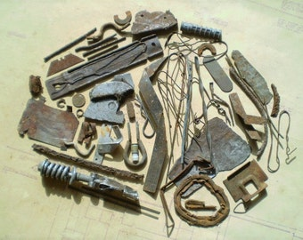 52 Rusty Metal Pieces - Found Objects for Assemblage, Jewelry or Altered Art - Salvaged Supplies