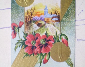 From A True Friend - 1911 - South Bend, Indiana - Red Poppies & Good Luck - Antique American Postcard