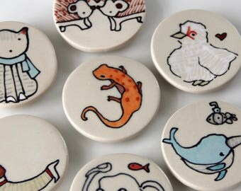 Salamander Magnet Handmade Ceramic Refrigerator Magnet Orange Newt Illustration Animal themed Pottery Cute Magnets Small Gifts Under 10