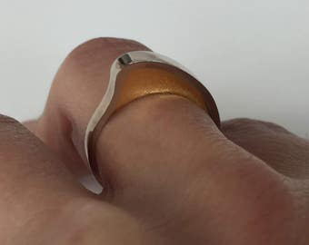 White Gold Swell Ring | Minimalist | Simple | 14K White, Yellow, Rose or Yellow Gold & 24K Gold | Designer | Stacking Ring