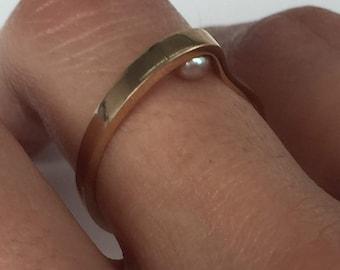 Gold Pearl Ring | Minimalist | Modern | Elegant | Simple | 14K Yellow, Rose or white Gold  | Designer | Unusual | Stacking Ring
