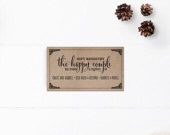 Gift registry cards / Wedding registry card / Wedding gift registy cards / Enclosure cards -  RC0002