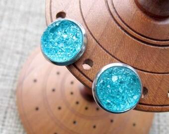Aqua Druzy 14mm Stainless Steel Stud Earrings ~ Studs Posts Druse Drusy