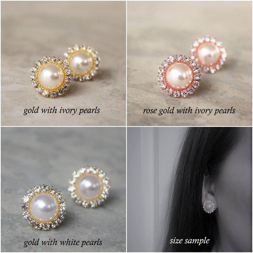 Gold Crystal Earrings, Ivory Pearl Earring Set Gallery Photo Gallery  Photo Gallery Photo Gallery Photo Gallery Photo