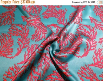 ON SALE Coral Red on Turquoise Coral Print Pure Silk Charmeuse Fabric--One Yard