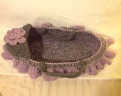 Doll bassinet cradle for American girl sized doll or  multiple baby dollies in Grey and purple ruffle trim and blanket