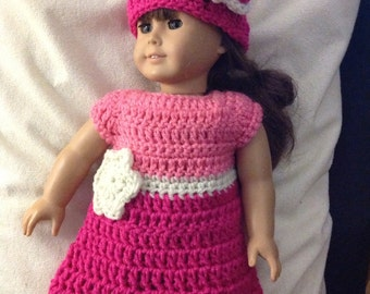 Doll dress hat set hot pink white flower accent doll clothes crochet dress