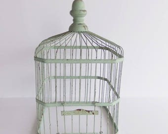 Antique Green Wire Bird Cage, Vintage Bird House, Decorative Bird Cage
