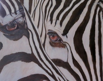 Zebra horse animal Giclee CANVAS PRINT of original oil painting by Sandra Cutrer Fine Art