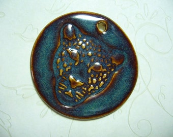 Shadow Leopard Pottery Pendant