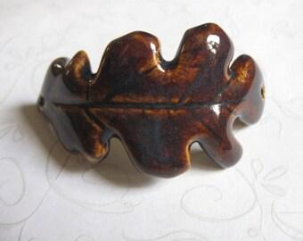 Dark Amber Oak Leaf Ceramic Bracelet Component