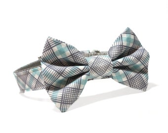 Plaid Bow Tie Dog Collar- Gray and Blue Perfect Plaid bow tie dog collar
