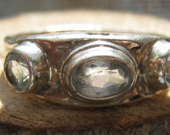 Vintage Three Stone Women's Ring with Aquamarine Color Stones Size 8 Ladies Sterling Silver Ring