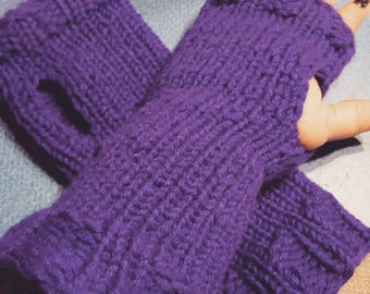 Knitted Wrist Warmers, Fingerless Gloves, Gauntlets, Various Colors, Long or Short